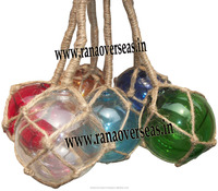 Glass Float Balls 3 Inch Wall Hanging Jute Rope