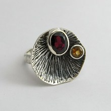 Real Natural Stone Garnet, Citrine 925 Solid Sterling Silver Gemstone Jewelry India Ring