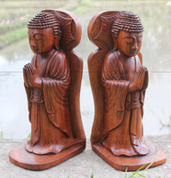 Home Decoration Set of Wooden buddha book end, hand carved suar wood