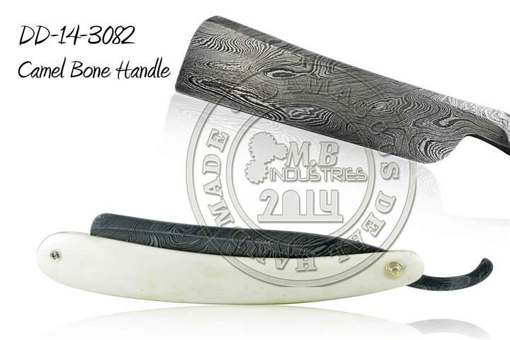Damascus Steel Straight Razor Camel Bone Handle DD-14-3078
