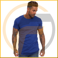 96% Cotton 4% Elastane Men's slim fit T-shirt, Short sleeves, Crew neck Men's Blue Fitted Long Line T-Shirt