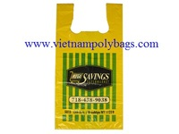 Vietnam regranulate 5% yellow film MDPE Plain embossed colored T-shirt carrier shopping bags