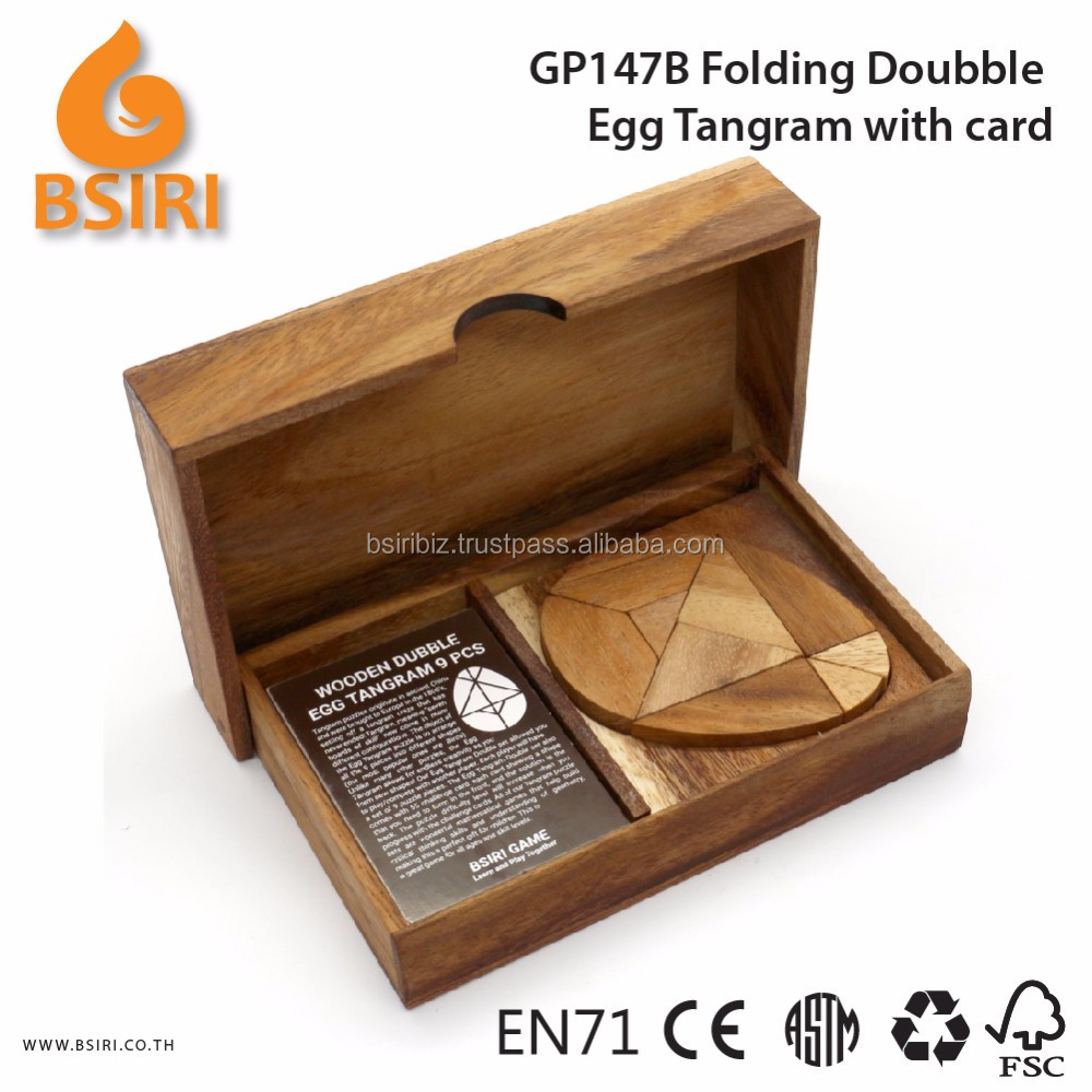 Folding Doubble Egg Tangram Puzzles with Card Adult Wooden Puzzles
