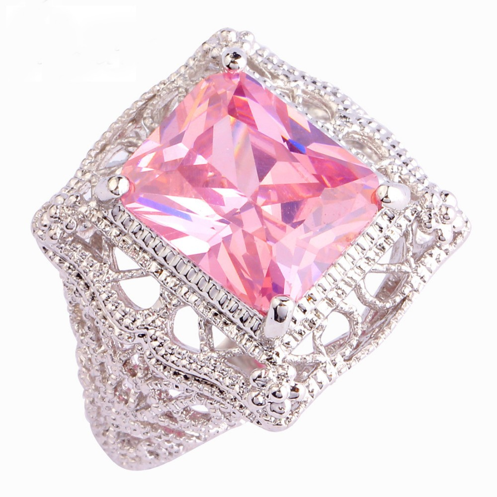 Sjae035 Sj Art Deco Super Luxury Princess Cut Pink Cubic Zirconia ...