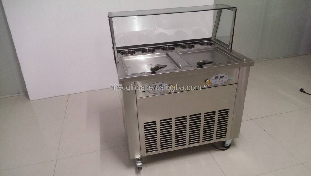 Double Square Pans With Five Holes CBJF-2D5B Fried Roll Ice Cream Machine