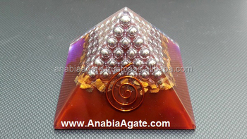 Orgone Pyramid Red Colour With Silver Pearl's : Wholesale Orgone pyramid