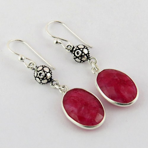Make A Wish !! Red Dyed Ruby 925 Sterling Silver Earring, 925 Silver Earring For Beautiful Earring, Handmade Gemstone Earrings