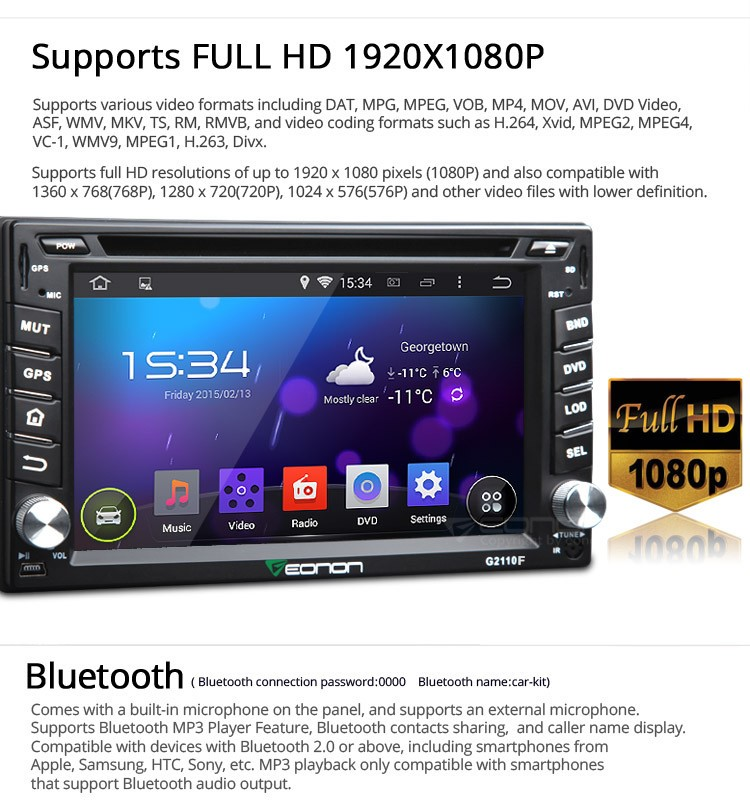 "EONON G2110F 2-DIN Android 4.4.4 Quad-Core 6.2"" Multimedia Car DVD GPS"