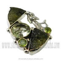 Genuine ! 925 Solid Sterling Silver Moldavite Multi Gemstone Ring Jewelry For Women