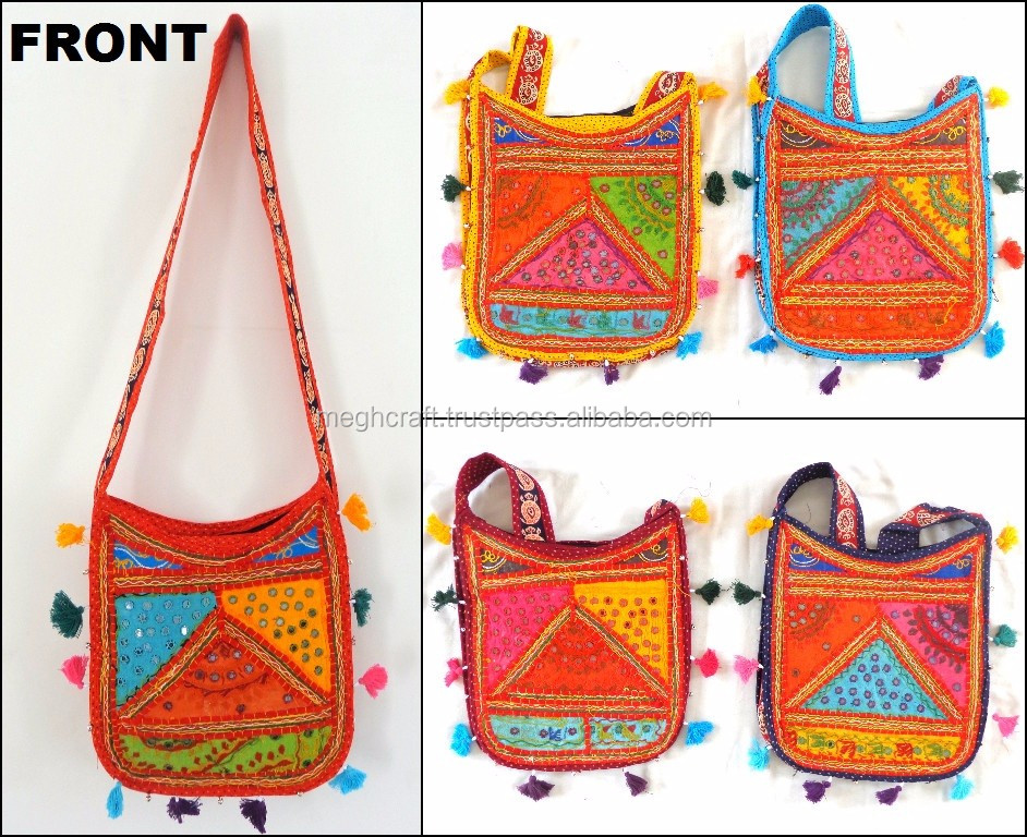 Wholesale Ethnic Handmade Elephant Embroidered Shoulder Bag/Bohemian Hippie Elephant embroidered Cotton Crossbody Bag/Sling Hand