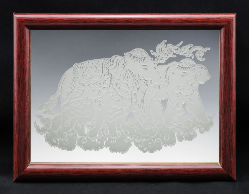 "Thai Elephant Fine Glass Mirror Etching TypeA Size 7"" x 5"" Inch with Picture Photo Frame"