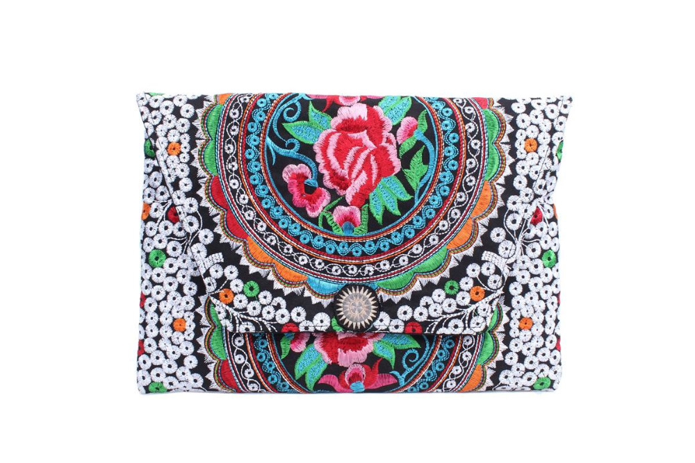 Sublime Clutch With A Red Circle Rose Embroidered Pattern, Adorned With Multi Hmong Star