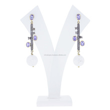 Wholesale Diamond Jewelry 14K Gold 925 Sterling Silver Crystal & Tanzanite Designer Dangle Earrings