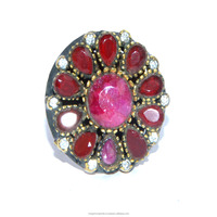 Flower Design Turkish Jewellery Sterling Silver With Ruby stone ring