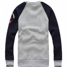 Men's Fashion O-Neck Casual High Quality Sweatshirts. Gray & Navy Sleeve.