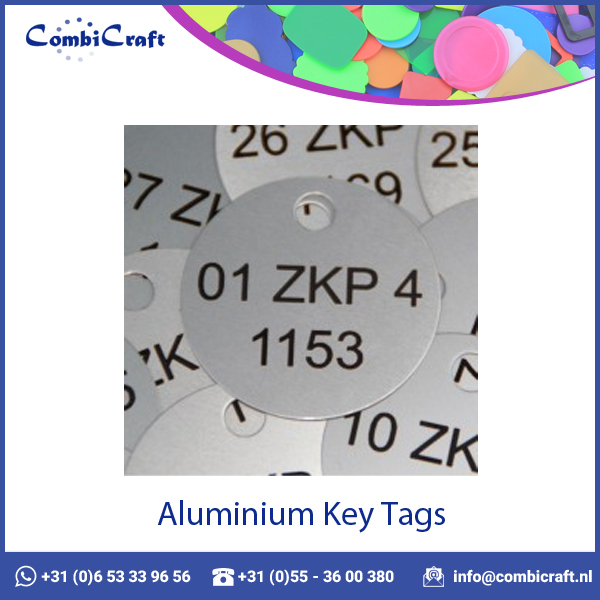 Round Silver Aluminum Key Tags / Labels with Custom Print