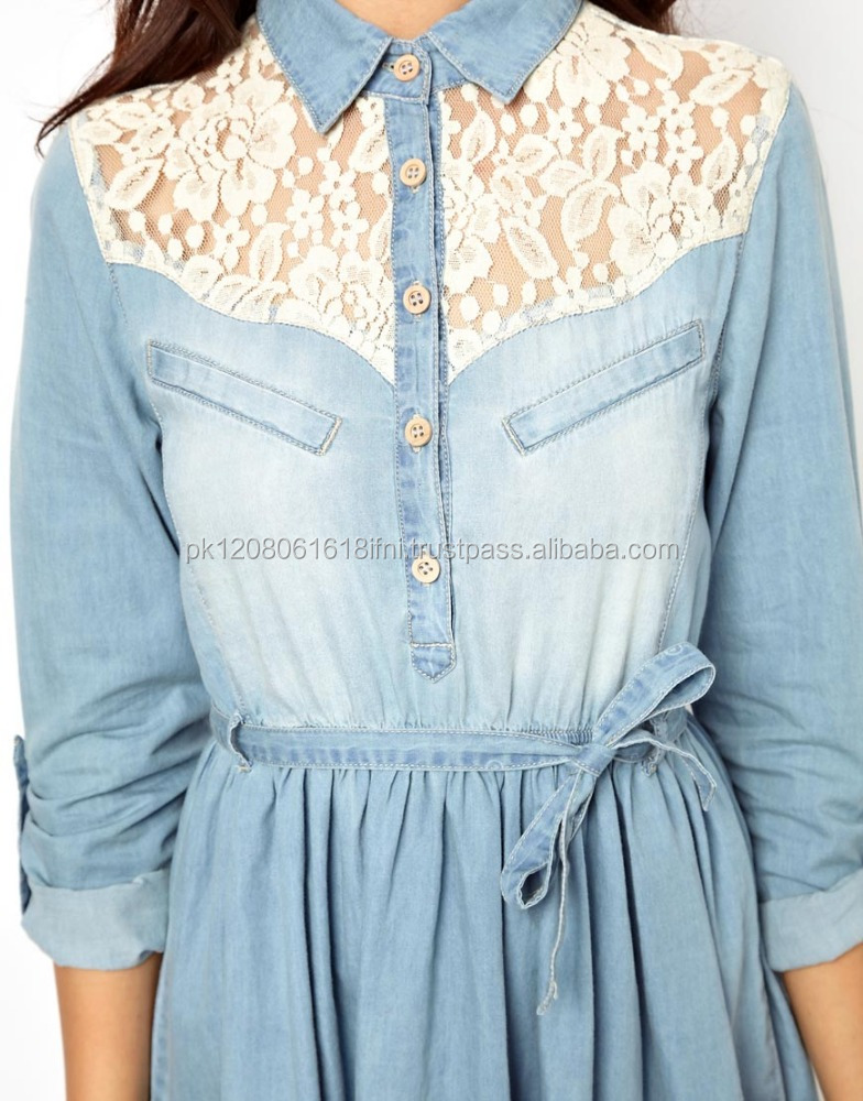 stylish jeans denim women dress with lace work design