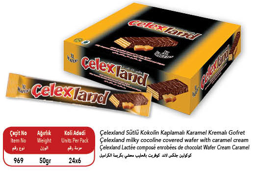 Celexland Cocoa Coated Wafer with Caramel Cream 50 gr