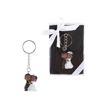 Ethnic Baby Wedding Couple Poly Resin Key Chain in Gift Box - White