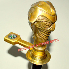 BRASS HEAD Walking Stick Cane Vintage JOKER DESIGN HANDLE