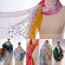 Soft and light high quality natural fabric chiffon silk hand paint scarf 80x190 cm