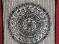 Printed Black&White Wall Hanging Cotton Made Mandala Throw Bedspread Tapestry