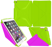 Ultra Slim Lightweight Smart Cover PC Shell PU Leather Folio Case Auto Sleep Wake for iPad Mini 3, 2, 1 roocase (lime/purple)