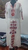 Indian Hand Embroidered Girls Party Wear Long Dress Designer Gauze Cotton Embroidery Evening Dress Handmade Hippie Dress