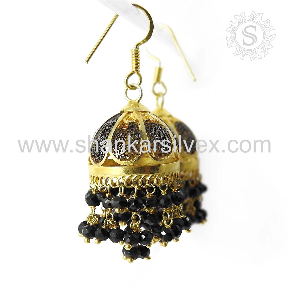 Black Onyx Gemstone Silver Jewelry Supplier Gold Plated Jhumka Earring 925 Sterling Silver Jewelry India