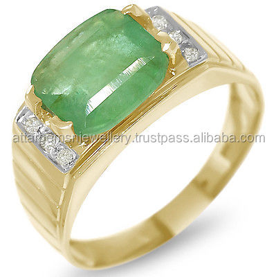 3.26ct Emerald & Diamond 9ct 9K 375 Solid Gold Gents Mens Ring - 30 Day Refunds