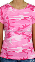 Girls Sexy Army printed Crew neck T shirts - camouflage