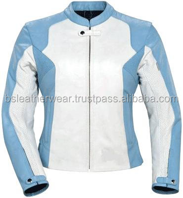 Asymmetrical Zipper Women's Blue Leather Motorcycle Jacket