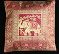 "16"" Elephant animal BROCADE PILLOW CUSHION Cover India Decoration Home decor Indian Store"
