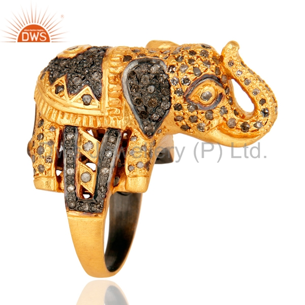 Whollesale Yellow Gold Plated Silver Ring Jewelry Manufacturer Elephant Design Pave Diamond Ring Supplier