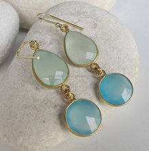 New Pretty and Trendy Design Blue Chalcedony and Aqua Chalcedony Hot Gemstone Earrings Micron Gold Plated