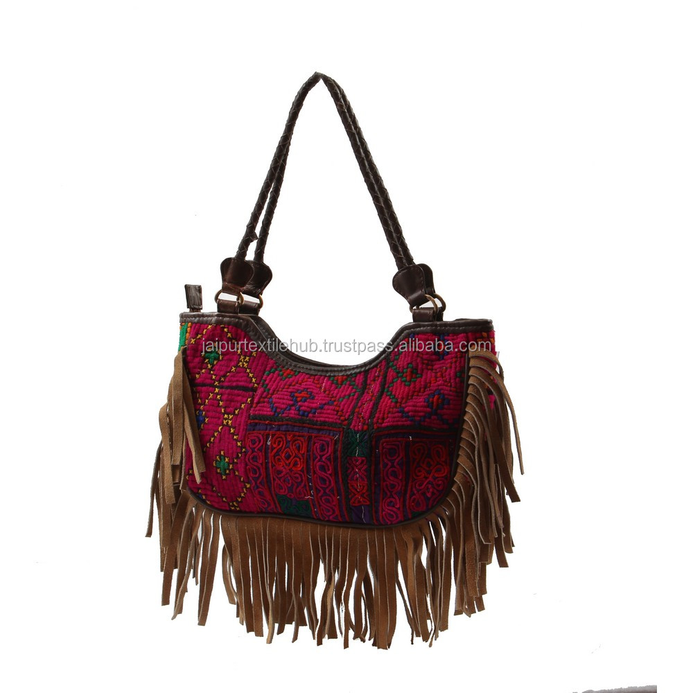 INDIAN WOMEN BAG HAND CRAFTED EMBROIDERED LEATHER FRINGED COLORFUL SHOULDER BAG