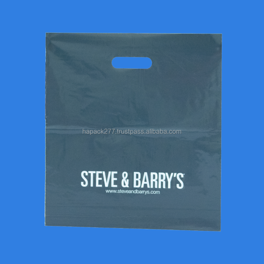 Steve and Barry full ink coverage white film grey ink die cut handle bag