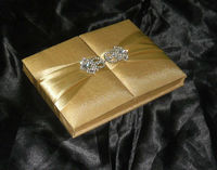 Gold Wedding Invitation box card folio silk invitation box manufacturer supplier in low prices including invitation pad
