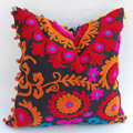 Hand embroidered multi colored suzani wholesale cushion cover
