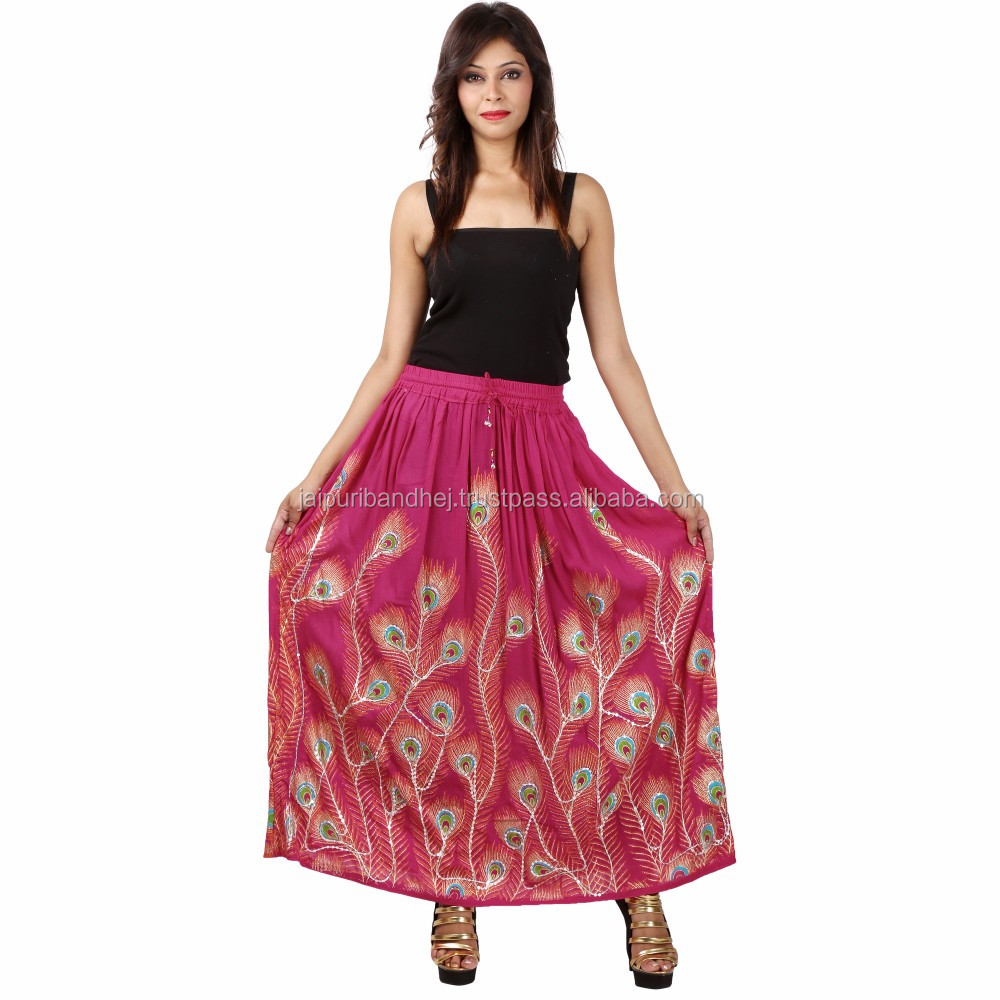 Jaipuri Peacock Print Rayon Skirt For Ladies