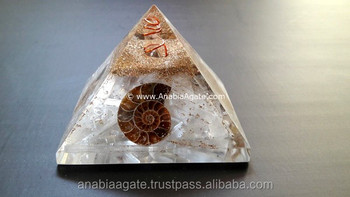 Selenite Orgone Ammonite Pyramid : 70-75 MM Selenite Pyramid : Orgone Energy Pyramid