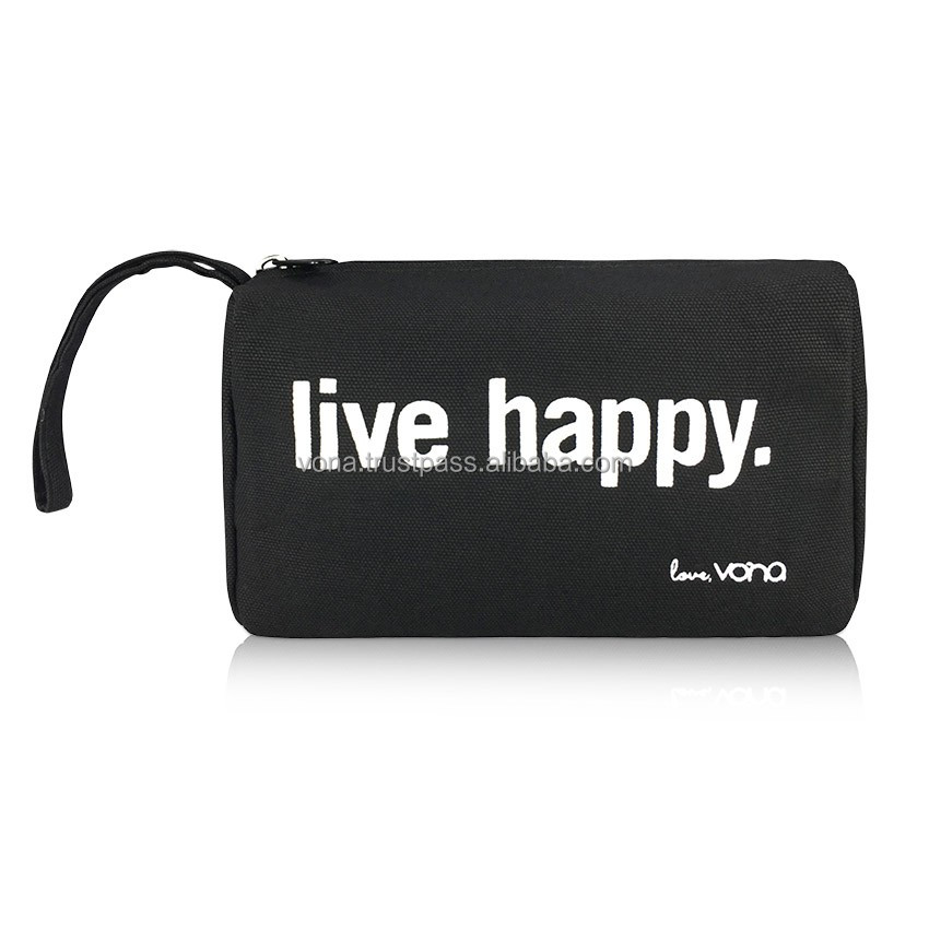 OEM Bali Wholesale Canvas Toiletries Makeup Cosmetic Travel Pouch Designer Handbag Unisex (LIV1601-Black)