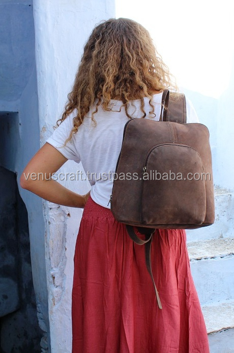 Venus Leatherware from india Exports real leather backpack rucksack college bag man women 16""