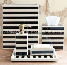 Coastal Striped Black and White Bathroom Accessories in Dubai, Hotel Bathroom Accessories Set, Ceramic Bathroom Accessories Set