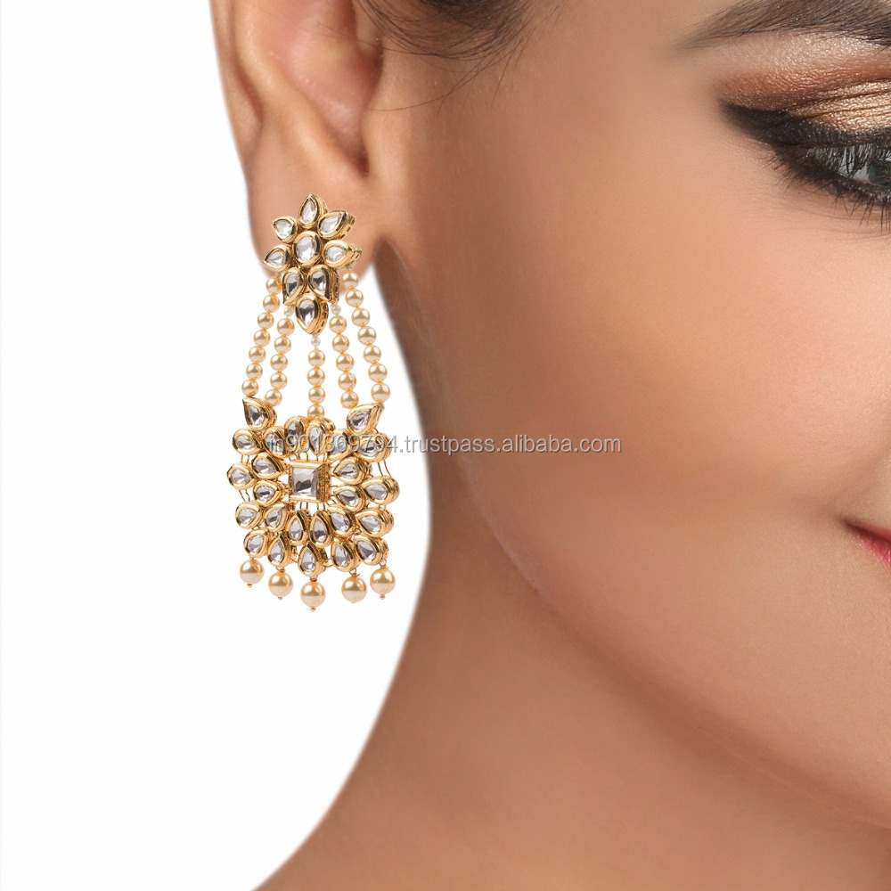 Long Pearl Chain Kundan Stone Gold Plated Fancy Wedding Party Wear Latest Design Earrings