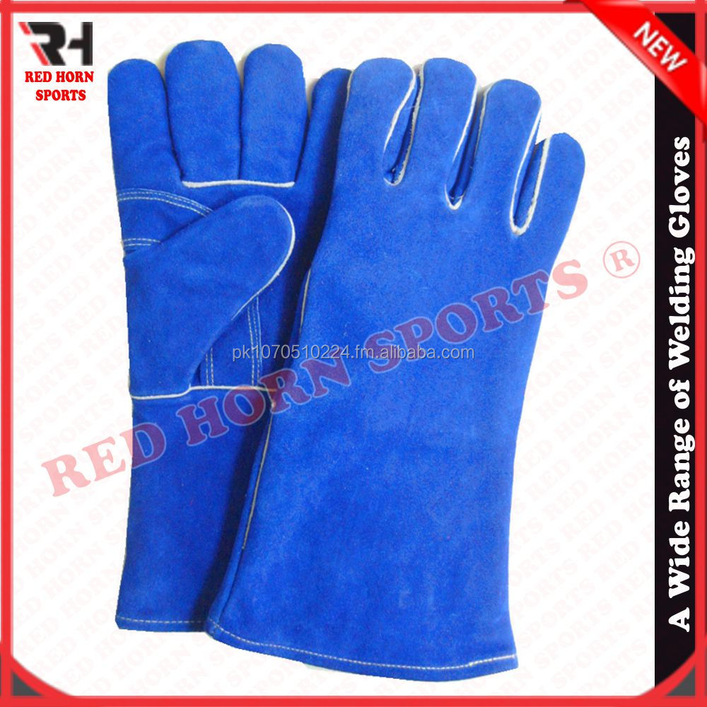 Cowhide split leather Welding Gloves , Heat and slag Protections