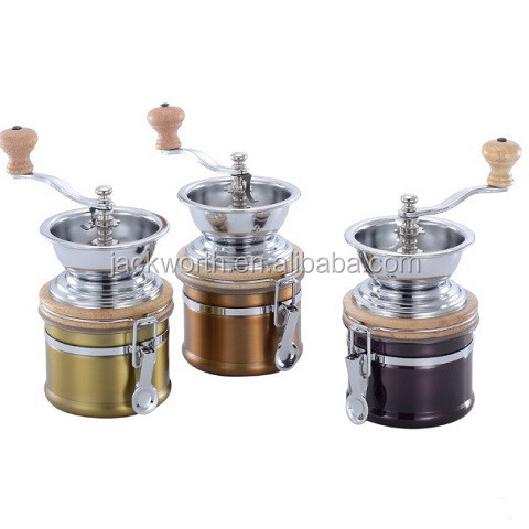Manual Canister Stainless Steel Burr Coffee Mill Grinder