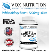 White Kidney Bean Extract 1200 mg Supplement, 60 count - Private Label White Kidney Bean Extract Supplement