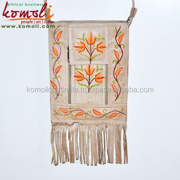 Multi Pocket Genuine Split Suede Fringe Bags, Leather Crossbody Bag - Embroidery Leather Suede Bag