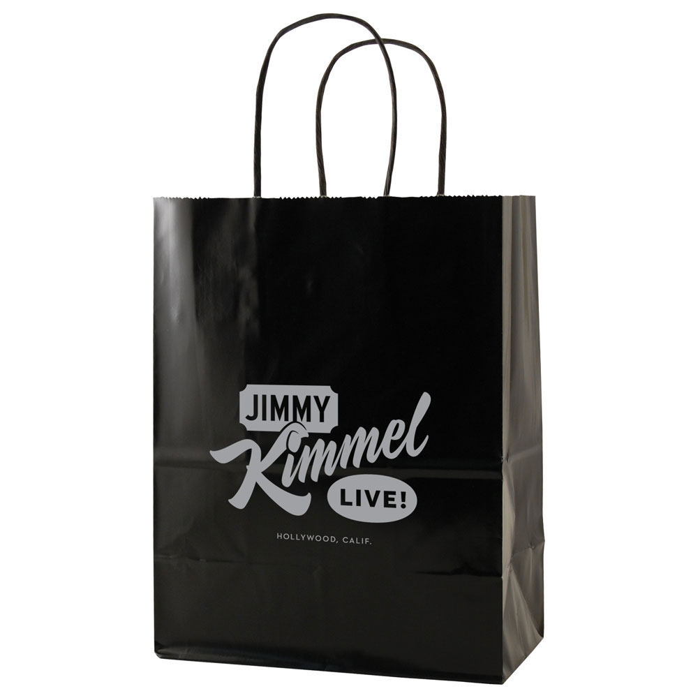 "USA Made Gloss Coated Shopping Bag - dimensions are 8"" x 4.75"" x 10.5"", made of #63 white kraft paper and comes with your logo."
